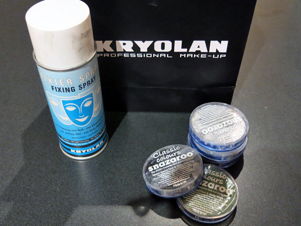 Kryolan Fixier spray and Snazaroo face paint