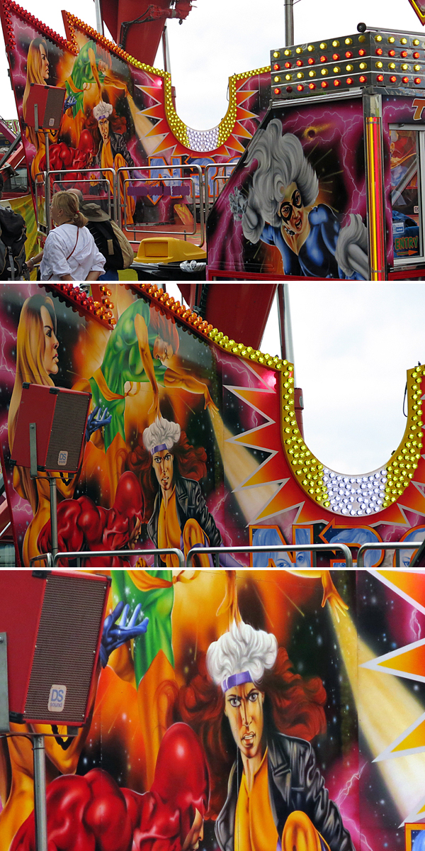 It's like carnivals exist in an alternate dimension where cohesive aesthetics do not exist.