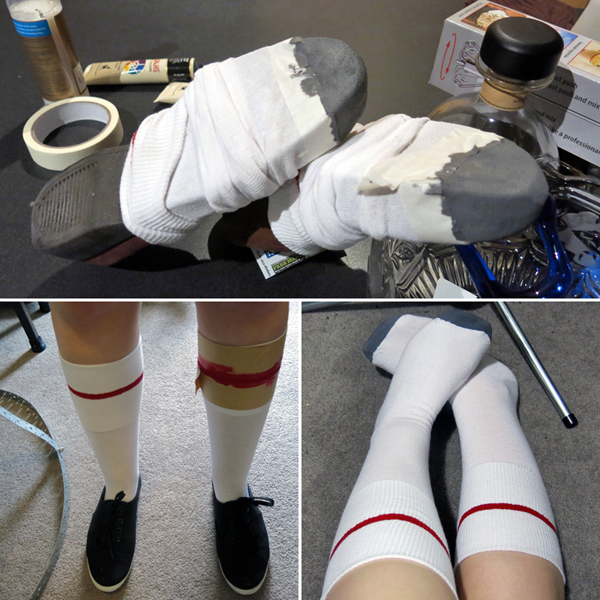 Painting socks.