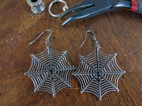 Spider web earrings.