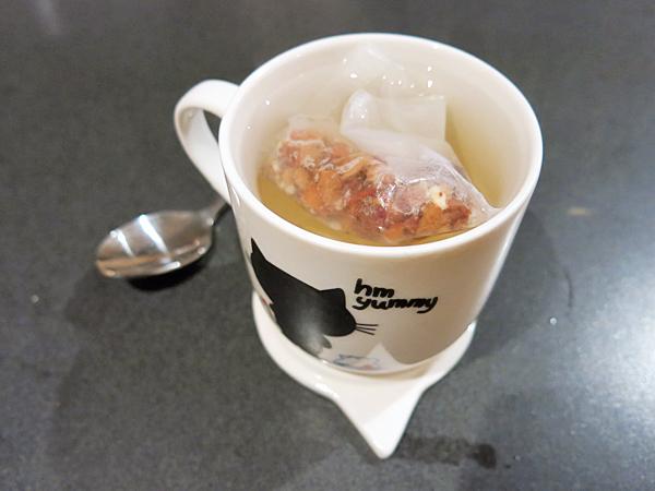 Toasty nougat tisane in the cat-mug.