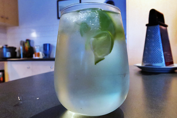 Vodka and soda slushie with a dash of mint and lime.
