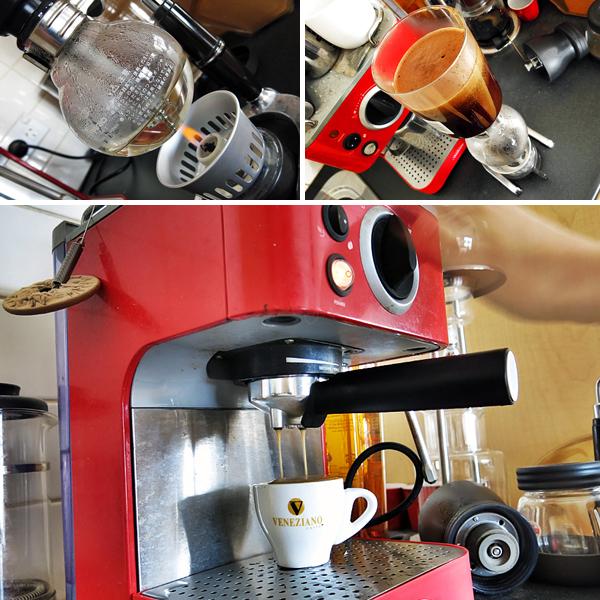 Hario siphon and Sunbeam automatic espresso.