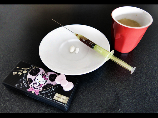 Cholecalciferol, sertraline, and caffeine.