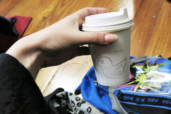 Coffee from Sugardough café.